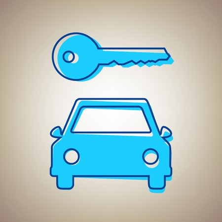 Car key simplistic sign. Vector. Sky blue icon with defected blue contour on beige background.