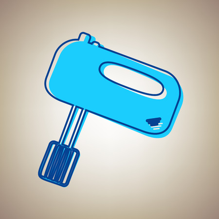 Kitchen mixer sign. Vector. Sky blue icon with defected blue contour on beige background.