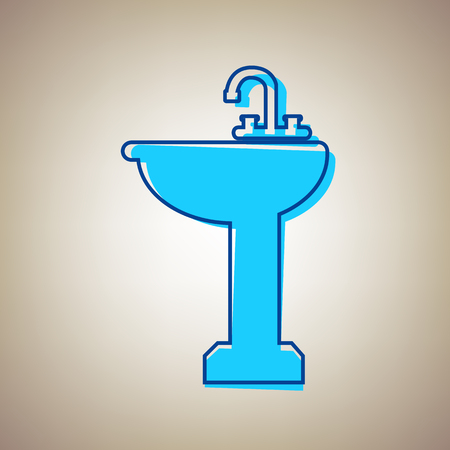 Bathroom sink sign. Vector. Sky blue icon with defected blue contour on beige background.