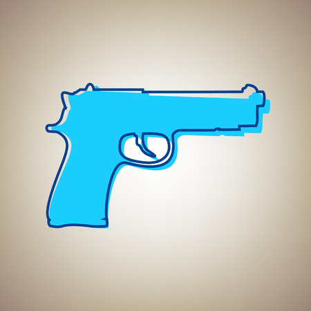 Gun sign illustration. Vector. Sky blue icon with defected blue contour on beige background.