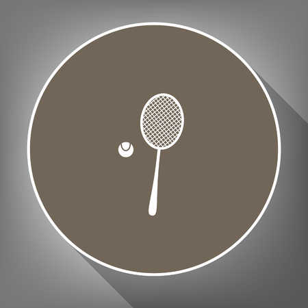 Tennis racquet with ball sign. Vector. White icon on brown circle with white contour and long shadow at gray background. Like top view on postament.