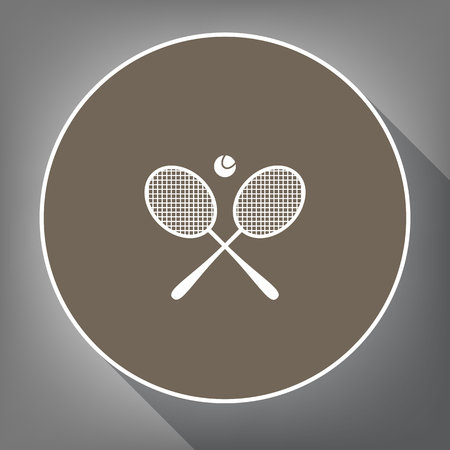 Two tennis racket with ball sign. Vector. White icon on brown circle with white contour and long shadow at gray background. Like top view on postament. Banco de Imagens - 86085222