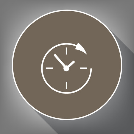 not open: Service and support for customers around the clock and 24 hours. Vector. White icon on brown circle with white contour and long shadow at gray background. Like top view on postament. Illustration