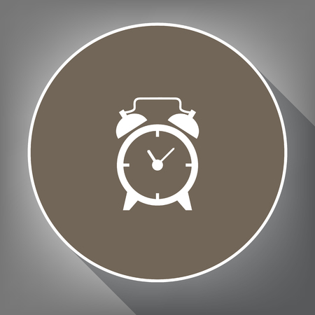 numbers: Alarm clock sign. Vector. White icon on brown circle with white contour and long shadow at gray background. Like top view on postament.
