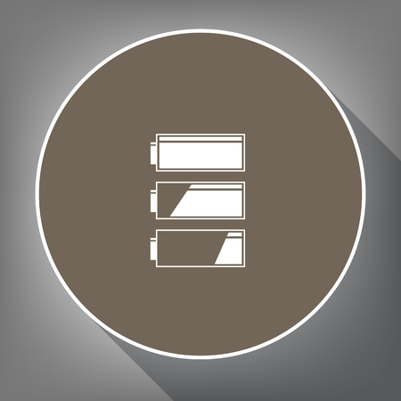 バッテリ充電レベル インジケーターをセットします。ベクトル。白の輪郭と背景が灰色で長い影茶色サークルの白いアイコンを。ような postament の