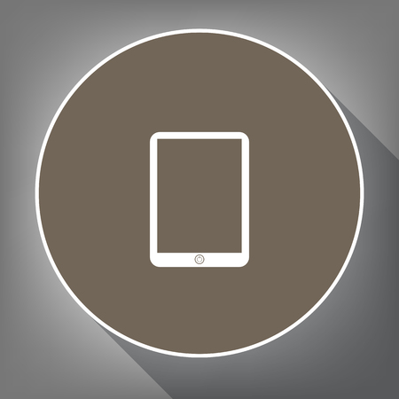 monitor: Computer tablet sign. Vector. White icon on brown circle with white contour and long shadow at gray background. Like top view on postament.
