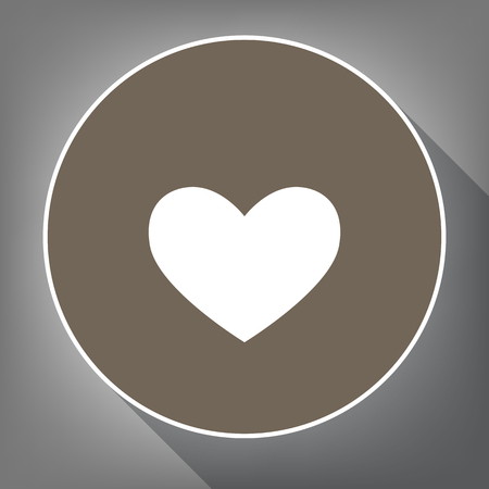 cor: Tie sign. Vector. White icon on brown circle with white contour and long shadow at gray background.