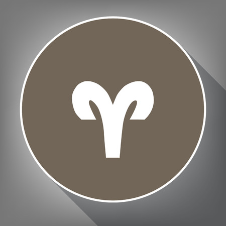 Aries sign illustration. Vector. White icon on brown circle with white contour and long shadow at gray background.