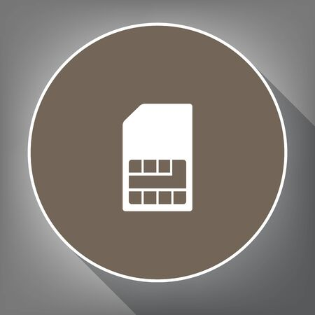 phone: Sim card sign on white icon on brown circle with white contour and long shadow at gray background. Illustration