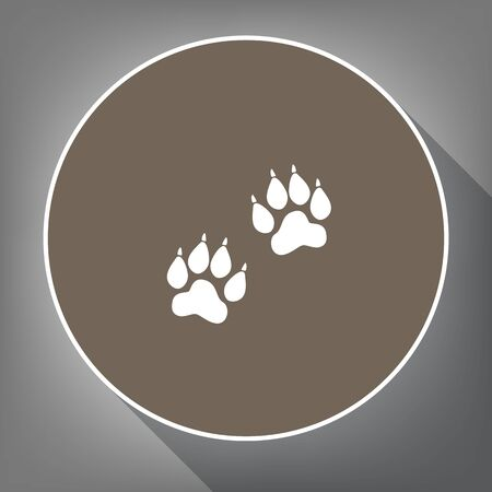 gray cat: Animal Tracks sign Vector. White icon on a brown circle with white contour and long shadow at gray background.