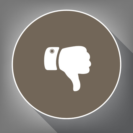 Hand sign illustration Vector. White icon on brown circle with white contour and long shadow at gray background. Illustration