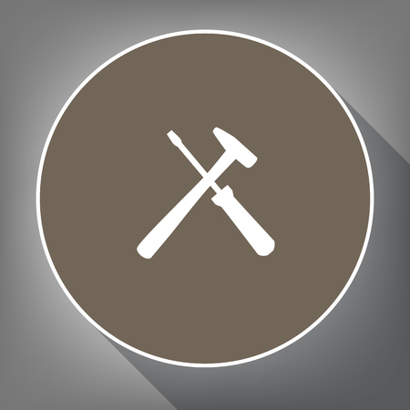 Tools sign illustration Vector. White icon on brown circle with white contour and long shadow at gray background.