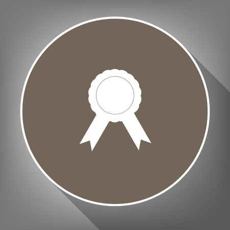 advantages: Label sign ribbons Vector. White icon on a brown circle with white contour and long shadow at gray background.