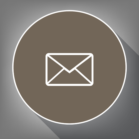 monitor: Letter sign illustration Vector. White icon on a brown circle with white contour and long shadow at gray background.