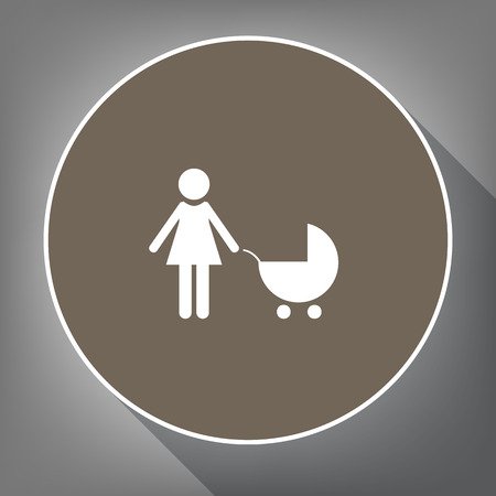 Family sign illustration Vector. White icon on a brown circle with white contour and long shadow at gray background.