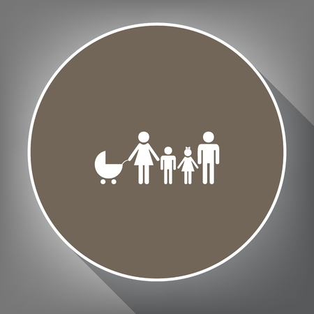 Family sign illustration Vector. White icon on brown circle with white contour and long shadow at gray background.