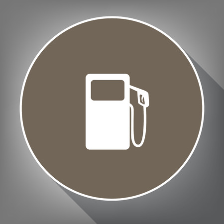 Gas pump sign Vector. White icon on brown circle with white contour and long shadow at gray background. Illustration