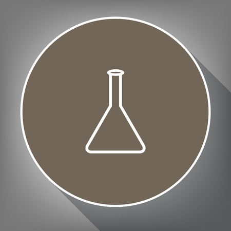 pharmacy symbol: Conical Flask sign. Laboratory glass sign. Vector. White icon on brown circle with white contour and long shadow at gray background. Like top view on postament.