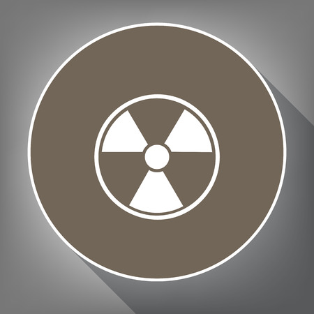 Radiation Round sign. Vector. White icon on brown circle with white contour and long shadow at gray background. Like top view on postament. Çizim