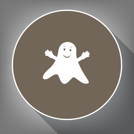 Ghost sign. Vector. White icon on brown circle with white contour and long shadow at gray background. Like top view on postament.