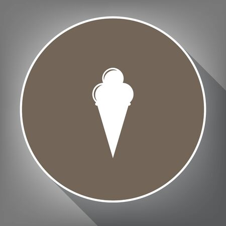 Ice Cream sign. Vector. White icon on brown circle with white contour and long shadow at gray background. Like top view on postament. Illustration