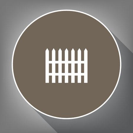 Fence simple sign. Vector. White icon on brown circle with white contour and long shadow at gray background. Like top view on postament.