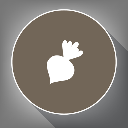 Beet simple sign. Vector. White icon on brown circle with white contour and long shadow at gray background. Like top view on postament. Illusztráció