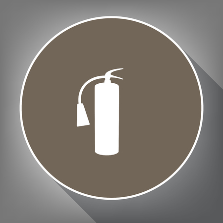 消火器標識です。ベクトル。白の輪郭と背景が灰色で長い影茶色サークルの白いアイコンを。ような postament の平面図です。