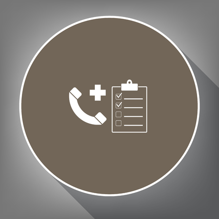 Medical consultation sign. Vector. White icon on brown circle with white contour and long shadow at gray background. Like top view on postament. Ilustrace