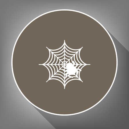 Spider on web illustration. Vector. White icon on brown circle with white contour and long shadow at gray background. Like top view on postament.