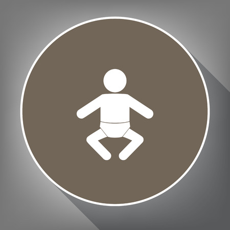 Baby sign illustration. Vector. White icon on brown circle with white contour and long shadow at gray background. Like top view on postament.