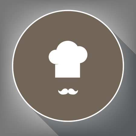Chef hat and moustache sign. Vector. White icon on brown circle with white contour and long shadow at gray background. Like top view on postament.