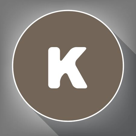 Letter K sign design template element. Vector. White icon on brown circle with white contour and long shadow at gray background. Like top view on postament.
