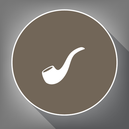 Smoke pipe sign. Vector. White icon on brown circle with white contour and long shadow at gray background. Like top view on postament.