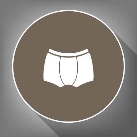 Signe de sous-vêtements de l'homme. Vecteur. Icône blanche sur un cercle marron avec contour blanc et ombre portée sur fond gris. Comme vue de dessus sur le postament. Banque d'images - 86085898