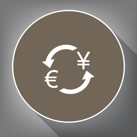 cash: Currency exchange sign. Euro and Japan Yen. Vector. White icon on brown circle with white contour and long shadow at gray background. Like top view on postament.