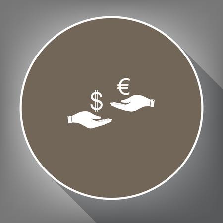 Valutawissel van hand aan hand. Dollar adn Euro. Vector. Wit pictogram op bruine cirkel met witte contour en lange schaduw op grijze achtergrond. Zoals bovenaanzicht op postament.