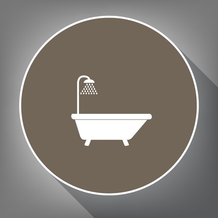 Bathtub sign. Vector. White icon on brown circle with white contour and long shadow at gray background. Like top view on postament. Ilustração