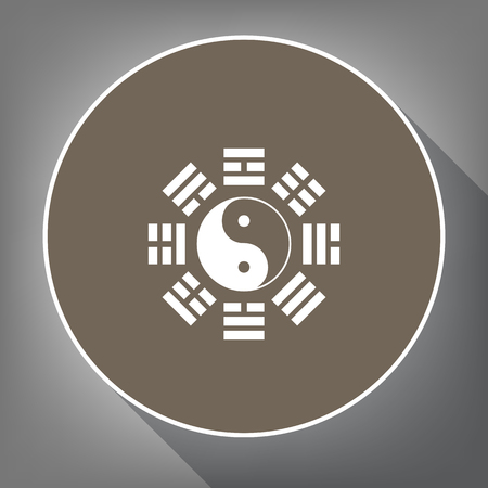 taiji: Yin and yang sign with bagua arrangement. Vector. White icon on brown circle with white contour and long shadow at gray background. Like top view on postament. Illustration