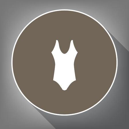 Womans swimsuit sign. Vector. White icon on brown circle with white contour and long shadow at gray background. Like top view on postament.