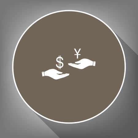 cash: Currency exchange from hand to hand. Dollar and Yuan. Vector. White icon on brown circle with white contour and long shadow at gray background. Like top view on postament.