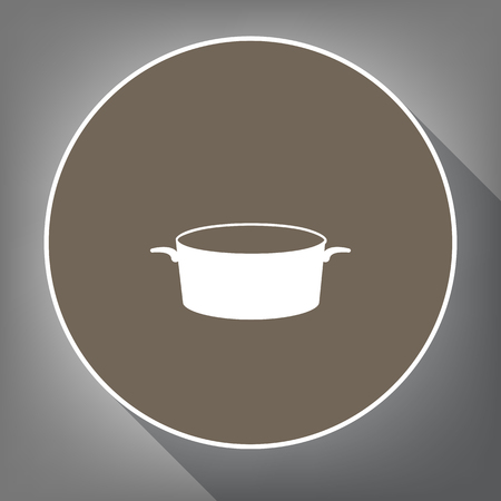 Pan sign. Vector. White icon on brown circle with white contour and long shadow at gray background. Like top view on postament. Иллюстрация