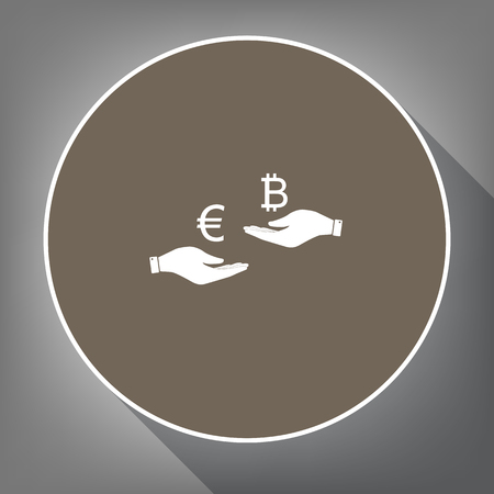 cash: Currency exchange from hand to hand. Euro an Bitcoin. Vector. White icon on brown circle with white contour and long shadow at gray background. Like top view on postament. Illustration