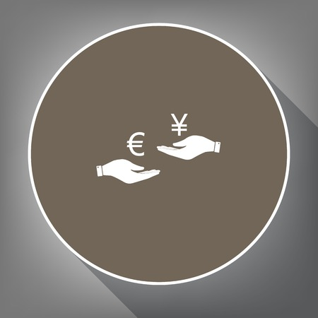 Currency exchange from hand to hand. Euro and Yen. Vector. White icon on brown circle with white contour and long shadow at gray background. Like top view on postament.
