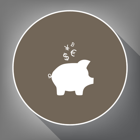 Piggy bank sign with the currencies. Vector. White icon on brown circle with white contour and long shadow at gray background. Like top view on postament.