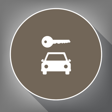 Car key simplistic sign. Vector. White icon on brown circle with white contour and long shadow at gray background. Like top view on postament.