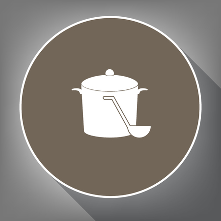 Pan with steam sign. Vector. White icon on brown circle with white contour and long shadow at gray background. Like top view on postament. Иллюстрация