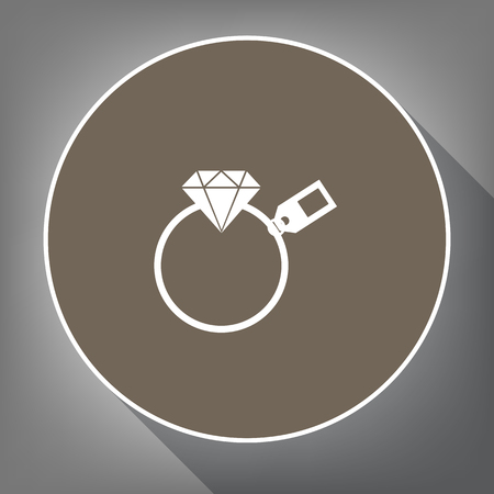 Diamond sign with tag. Vector. White icon on brown circle with white contour and long shadow at gray background. Like top view on postament. Illustration