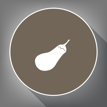 petiole: Eggplant sign. Salad ingredient. Healthy vegetable. Vector. White icon on brown circle with white contour and long shadow at gray background. Like top view on postament.