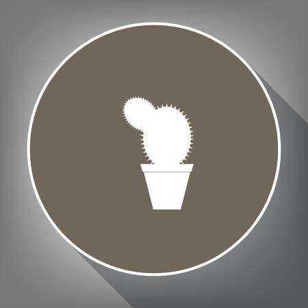 joshua: Cactus sign illustration. Vector. White icon on brown circle with white contour and long shadow at gray background. Like top view on postament. Illustration